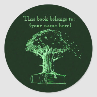 Tree and a book, green round sticker