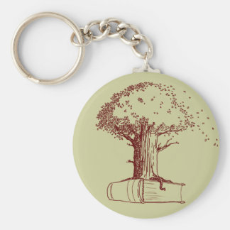 Tree and a book keychain