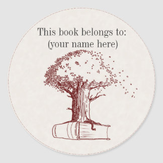 Tree and a book round sticker