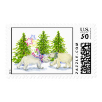 tree and bear stamp, medium size postage