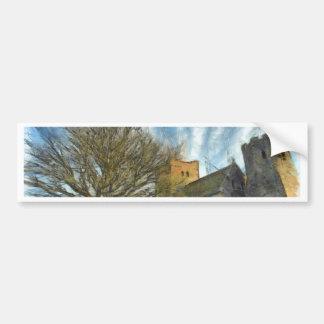 Tree and church bumper sticker