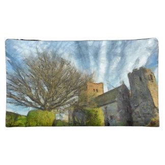 Tree and church makeup bag