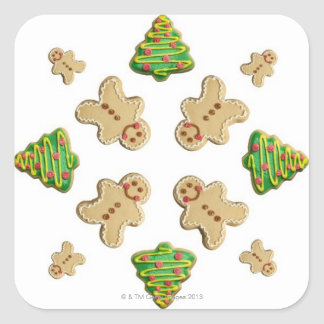 Tree and Gingerbread Man Cookie Snowflake Square Sticker