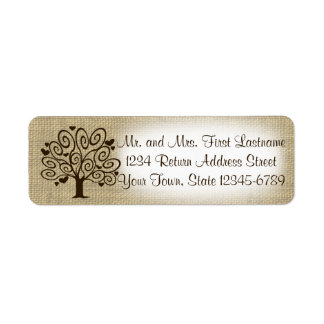 Tree and Hearts Country Rustic Return Address Label
