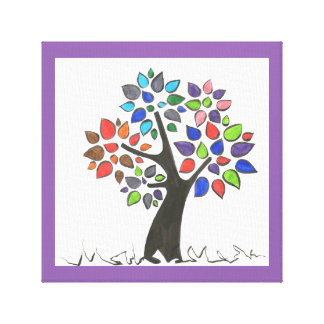 Tree and leaves of colors canvas print