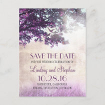 tree and love birds rustic vintage save the date announcement postcard