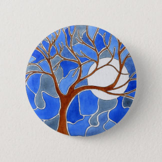 Tree and Moon Art Button- Blue Pinback Button
