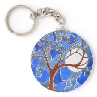 Tree and Moon Art Keychain - Blue keychain