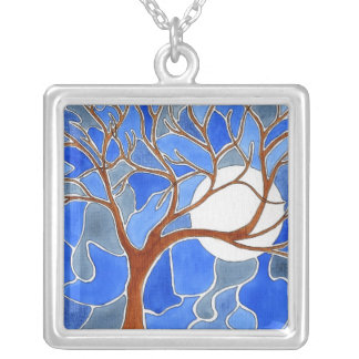 Tree and Moon Art Necklace - Blue