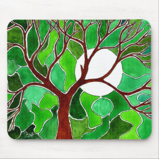 Tree and Moon Art on Canvas - Green Mouse Pad