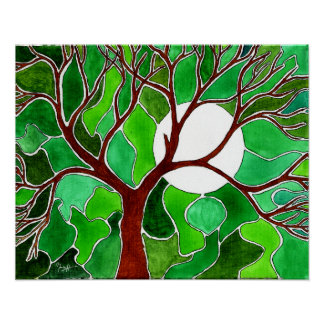 Tree and Moon Art on Canvas - Green Posters