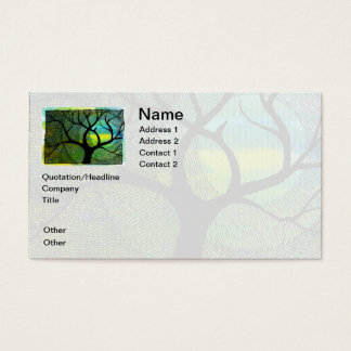 Tree and Moon - Blue and Yellow Watercolors Business Card