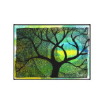 Tree and Moon - Blue and Yellow Watercolors Gallery Wrapped Canvas