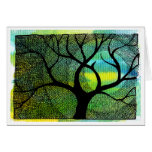 Tree and Moon - Blue and Yellow Watercolors Stationery Note Card