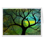 Tree and Moon - Blue and Yellow Watercolors Greeting Cards