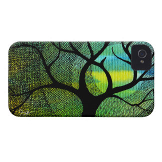Tree and Moon - Blue and Yellow Watercolors Case-Mate iPhone 4 Cases