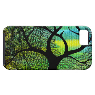 Tree and Moon - Blue and Yellow Watercolors iPhone SE/5/5s Case