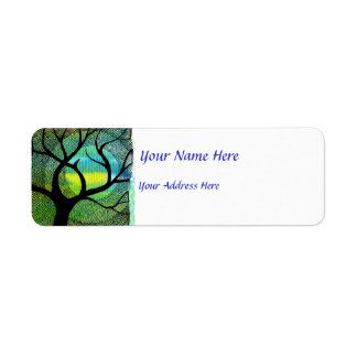 Tree and Moon - Blue and Yellow Watercolors Label