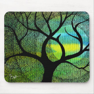 Tree and Moon - Blue and Yellow Watercolors Mouse Pad