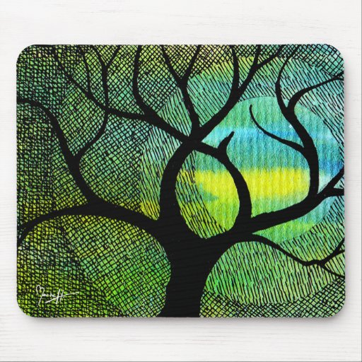 Tree and Moon - Blue and Yellow Watercolors Mouse Pads