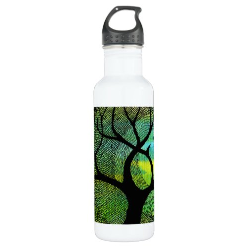 Tree and Moon - Blue and Yellow Watercolors Stainless Steel Water Bottle