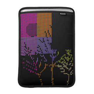 Tree and Moon Colorful Disco Lights MacBook Sleeves