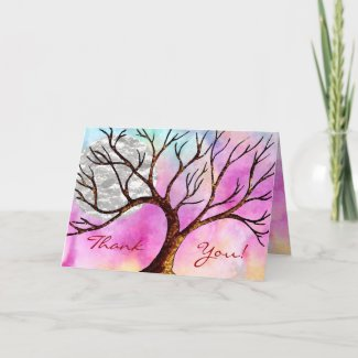 Tree and Moon Colorful Thank You Card card