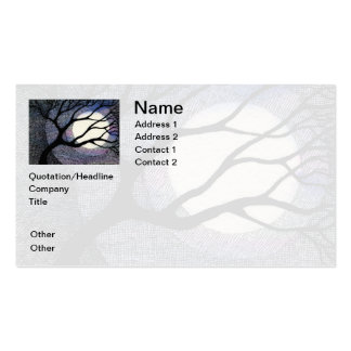 Tree and Moon Cross Hatched Business Card