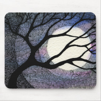 Tree and Moon Cross Hatched Mouse Pad