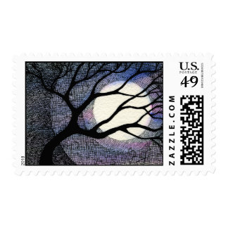 Tree and Moon Cross Hatched Postage Stamp