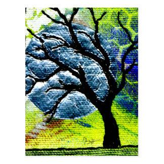 Tree and Moon Fiber Art Postcard