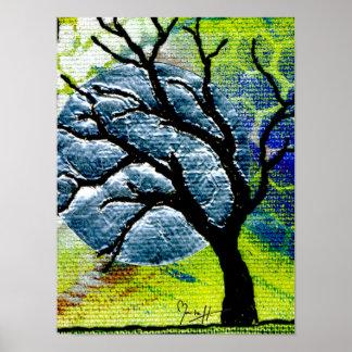 Tree and Moon Fiber Art Print