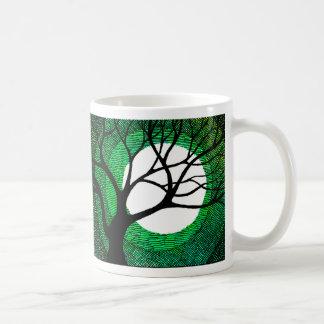 Tree and Moon - Green Coffee Mugs