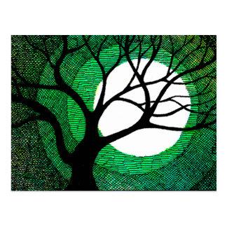 Tree and Moon - Green Postcard