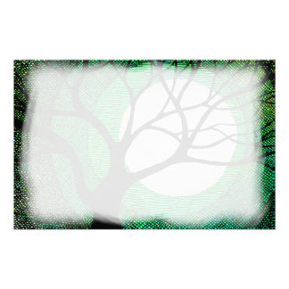 Tree and Moon - Green Stationery