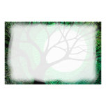 Tree and Moon - Green Stationery Design