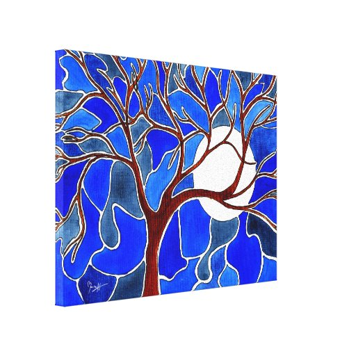 Tree and Moon on Canvas - Blue Canvas Print