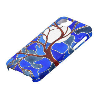 Tree and Moon on Canvas - Blue iPhone 5 Cases