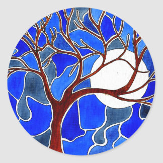 Tree and Moon on Canvas - Blue Classic Round Sticker
