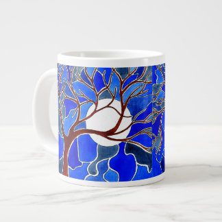 Tree and Moon on Canvas - Blue Giant Coffee Mug