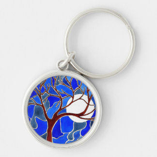Tree and Moon on Canvas - Blue Silver-Colored Round Keychain