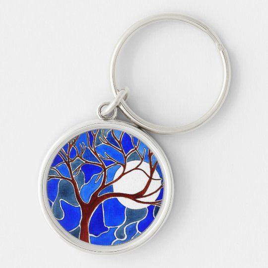 Tree and Moon on Canvas - Blue Keychain