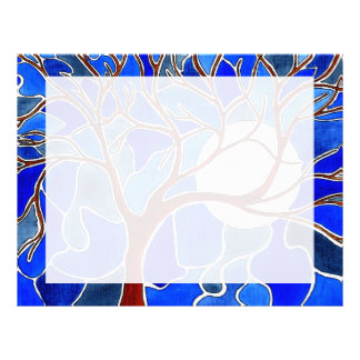 Tree and Moon on Canvas - Blue Letterhead