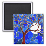 Tree and Moon on Canvas - Blue Magnets