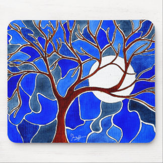 Tree and Moon on Canvas - Blue Mouse Pads