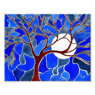 Tree and Moon on Canvas - Blue Photo Print