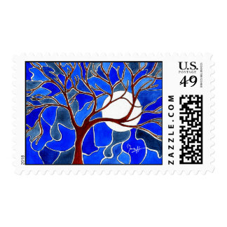 Tree and Moon on Canvas - Blue Postage Stamps