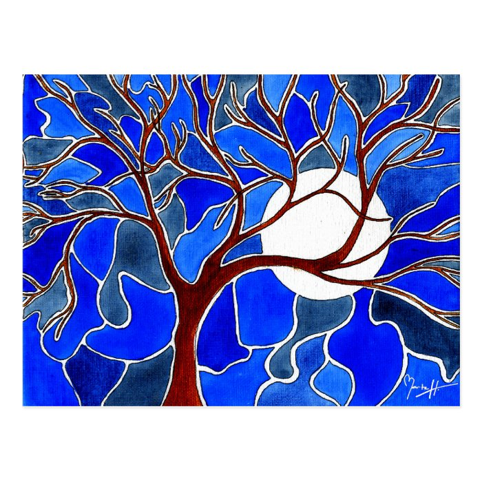 Tree and Moon on Canvas - Blue Postcard