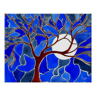 Tree and Moon on Canvas - Blue Poster