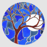 Tree and Moon on Canvas - Blue Sticker